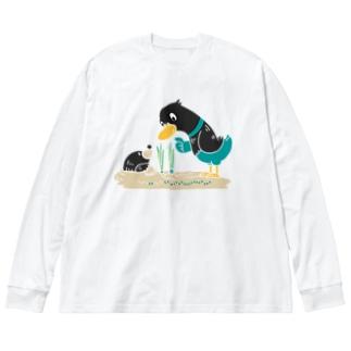 CT159 ネギを値切っている鴨カモ*B*白フチなし*大きいイラスト Big Long Sleeve T-shirt