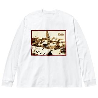 チェコ:チェスキー・クルムロフ城 Czech: Krumlov Castle Big silhouette long sleeve T-shirts