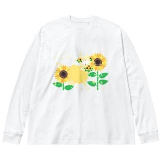 夏だよ!ひまわりの妖精 Big silhouette long sleeve T-shirts