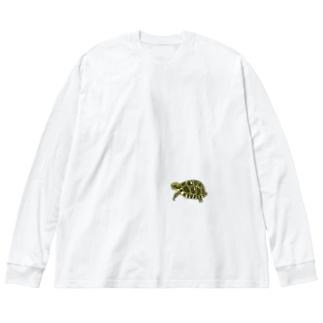 リクガメハイハイ Big silhouette long sleeve T-shirts