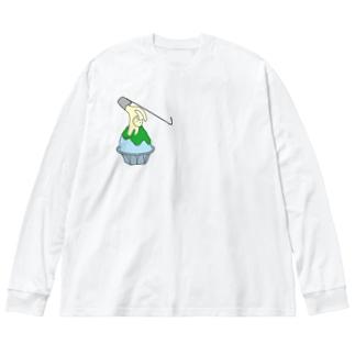 練乳ねこかき氷(メロン/抹茶) Big silhouette long sleeve T-shirts