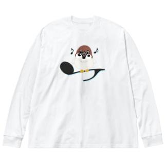 CT161 スズメがちゅんB*イラストサイズ大きいver. Big silhouette long sleeve T-shirts