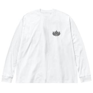 大日本帝国陸軍近衛師団帽章(ワンポイント グレー) Big Silhouette Long Sleeve T-Shirt
