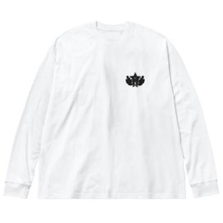 大日本帝国陸軍近衛師団帽章(ワンポイント 黒) Big silhouette long sleeve T-shirts