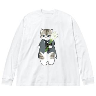 花婿にゃん Big silhouette long sleeve T-shirts
