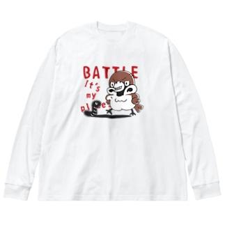 CT166 スズメがちゅん*BATTLEちゅん Big Silhouette Long Sleeve T-Shirt
