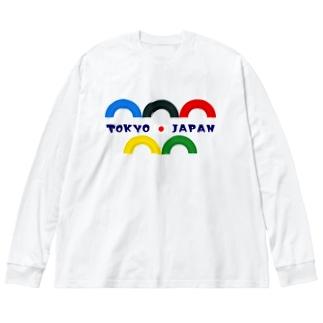 タイヤ遊具 TOKYO  JAPAN Big silhouette long sleeve T-shirts