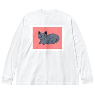 ネコ Big silhouette long sleeve T-shirts