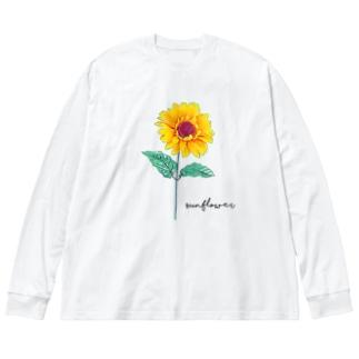 ひまわり Big silhouette long sleeve T-shirts
