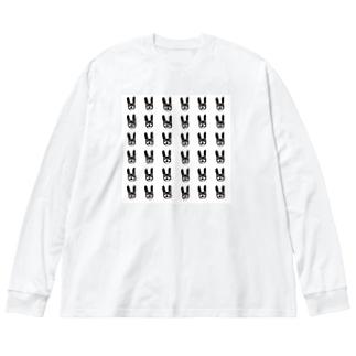 大柄 連続癖うさぎ Big silhouette long sleeve T-shirts