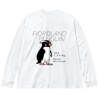 フィヨルドランドペンギン Big silhouette long sleeve T-shirts