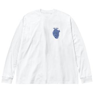 心臓 (青) Big silhouette long sleeve T-shirts