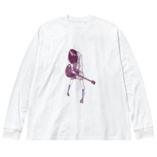 ギターガール013 Big silhouette long sleeve T-shirts