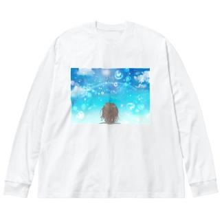 水しぶきの中の虹 Big Silhouette Long Sleeve T-Shirt