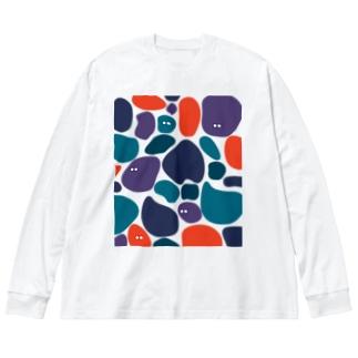いっぱい(ツバメ) Big silhouette long sleeve T-shirts