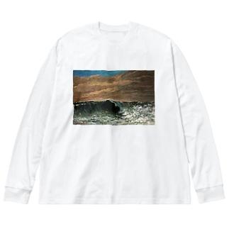 ギュスターヴ・クールベのグッズ 波 Big silhouette long sleeve T-shirts