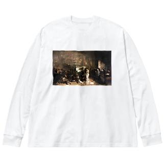 ギュスターヴ・クールベ(画家のアトリエ)のグッズ Big silhouette long sleeve T-shirts