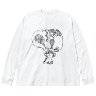 ゾウのガール Big silhouette long sleeve T-shirts