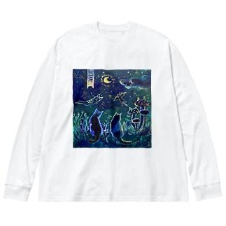 猫の国の夜 Big Long Sleeve T-shirt