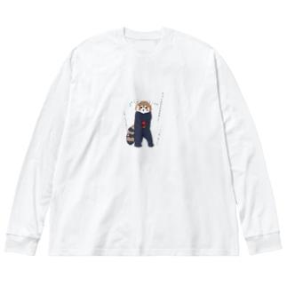 お腹すいてりんごを取ってきたらバレちゃった Big Silhouette Long Sleeve T-Shirt