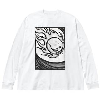 火の玉骸骨お化け Big silhouette long sleeve T-shirts