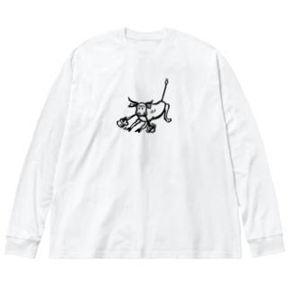 荒ぶる雄牛(Snorting Bull) Big silhouette long sleeve T-shirts