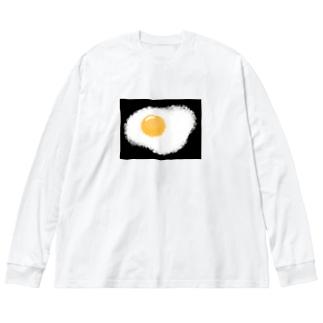 ふわふわめだまやき Big silhouette long sleeve T-shirts