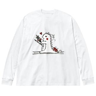 恐竜くんと踏切。 Big silhouette long sleeve T-shirts