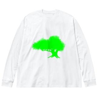 巨大樹 Big silhouette long sleeve T-shirts