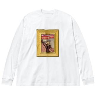 叫び! Big silhouette long sleeve T-shirts