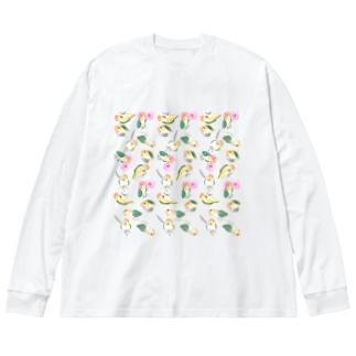 たっぷりシロハラインコちゃん【まめるりはことり】 Big silhouette long sleeve T-shirts