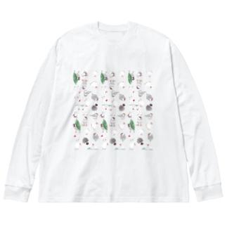 たっぷり文鳥ちゃん【まめるりはことり】 Big silhouette long sleeve T-shirts