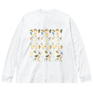 たっぷりラブバード(コザクラインコ・ボタンインコ)ちゃん【まめるりはことり】 Big silhouette long sleeve T-shirts