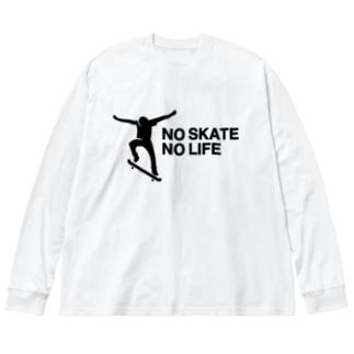 NO SKATE NO LIFE 黒ロゴ Big silhouette long sleeve T-shirts