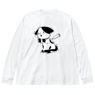 注射が怖い猫 Big silhouette long sleeve T-shirts