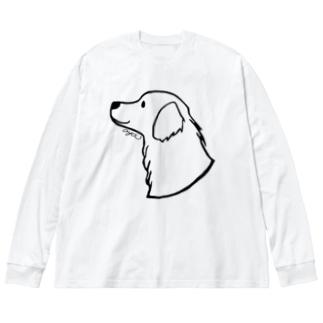ゴールデン・レトリーバーにこ〈線〉 Big Silhouette Long Sleeve T-Shirt