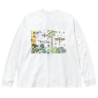 虹色のみくに Big silhouette long sleeve T-shirts