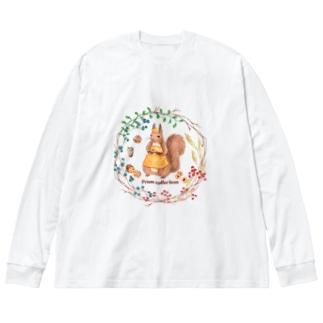 森の木の実のボタニカルカフェ Big silhouette long sleeve T-shirts