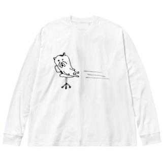しゃー Big silhouette long sleeve T-shirts