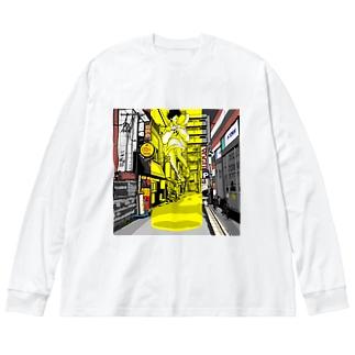 路地裏とSF Big Silhouette Long Sleeve T-Shirt
