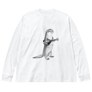マンドリンを弾くカワウソ Big silhouette long sleeve T-shirts