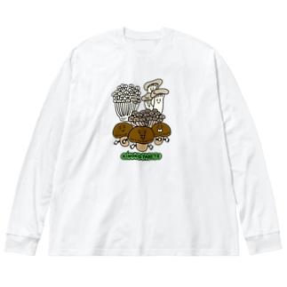 きのこたべて Big silhouette long sleeve T-shirts