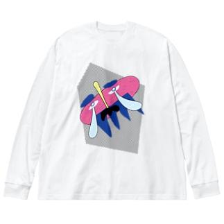 謎のおじさん(ドット背景) Big Silhouette Long Sleeve T-Shirt