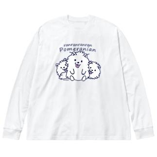 らんらんらんらんポメラニアン*L配置 Big Long Sleeve T-shirt