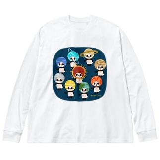 カブリモノ太陽系パンダ Big Silhouette Long Sleeve T-Shirt