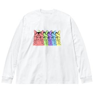 目つきの悪い猫カラフル Big Long Sleeve T-shirt