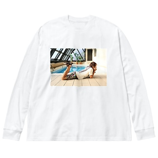 プール Big silhouette long sleeve T-shirts