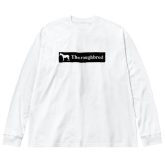 文字ネタ 515 サラブレッドステッカー 黒 Big silhouette long sleeve T-shirts
