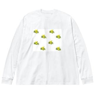 タンポポ Dandelions Big silhouette long sleeve T-shirts