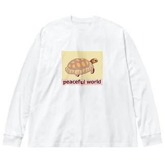 カメの赤ちゃん(ベージュ) Baby Tortoise (beige) Big silhouette long sleeve T-shirts